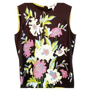 DVF Floral-Print Silk Shell Top, Black Multicolor